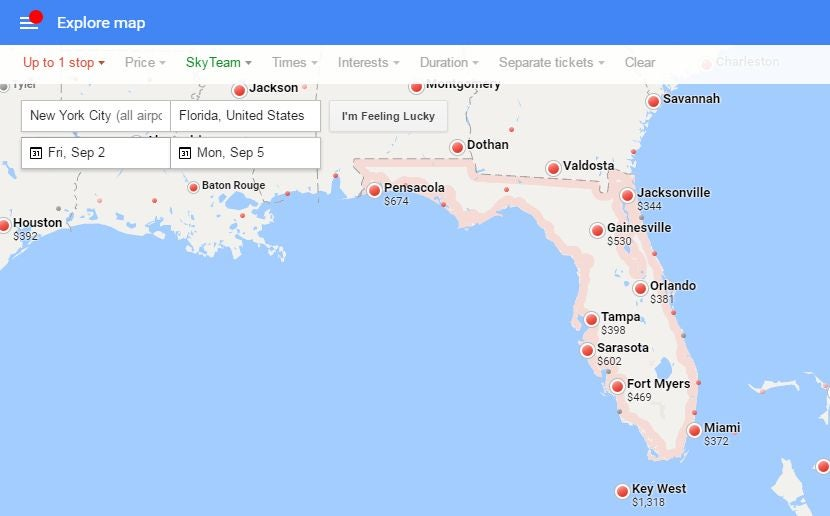 Using Google Flights Maps Feature To Find Last Minute Deals