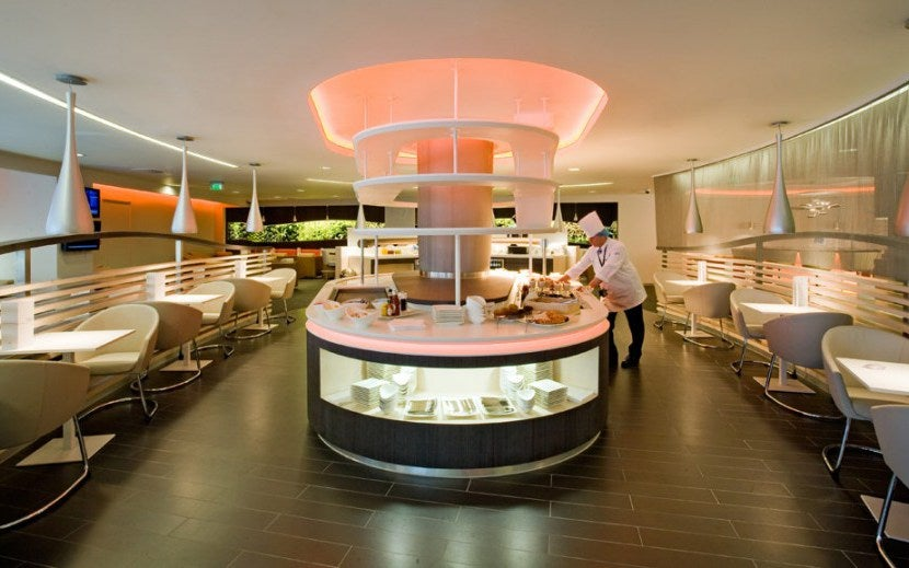 A sneak peek of the dining area inside The SkyTeam Lounge at Heathrow. Image Courtesy of Priority Pass.