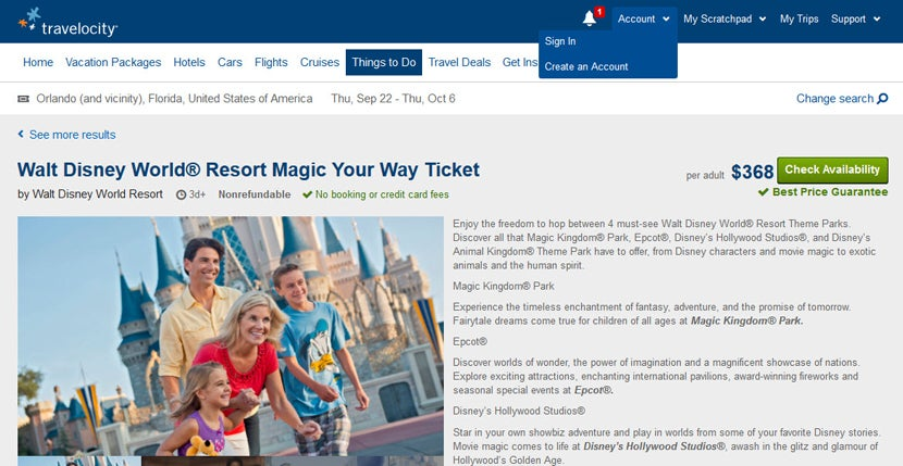 Buy Your Disney World Tickets At Travelocity So It Will Code As Travel