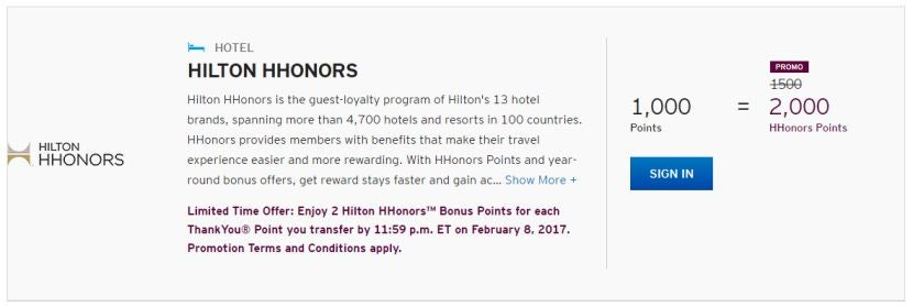 For The Next Few Months Get 2 Hhonors Points Each Transferred Citi Thankyou Point