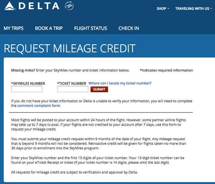 delta airlines mileage credit request form wiring diagrams