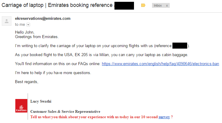 Emirates Customer Service Usa >> What It Was Like Flying Emirates During The Electronics Ban