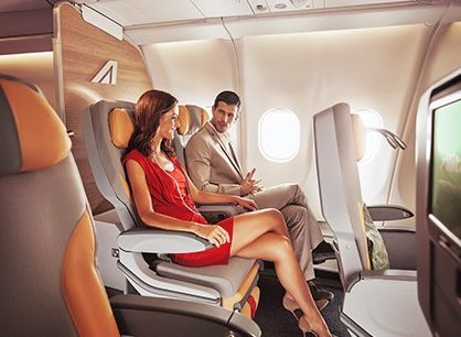 Alitalia offers a handsome looking premium economy cabin on transatlantic A330 aircraft.
