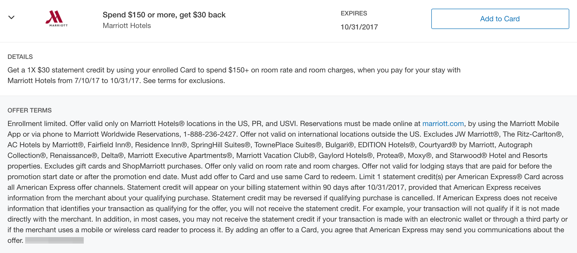 save $30 on a $150 marriott stay with amex offers