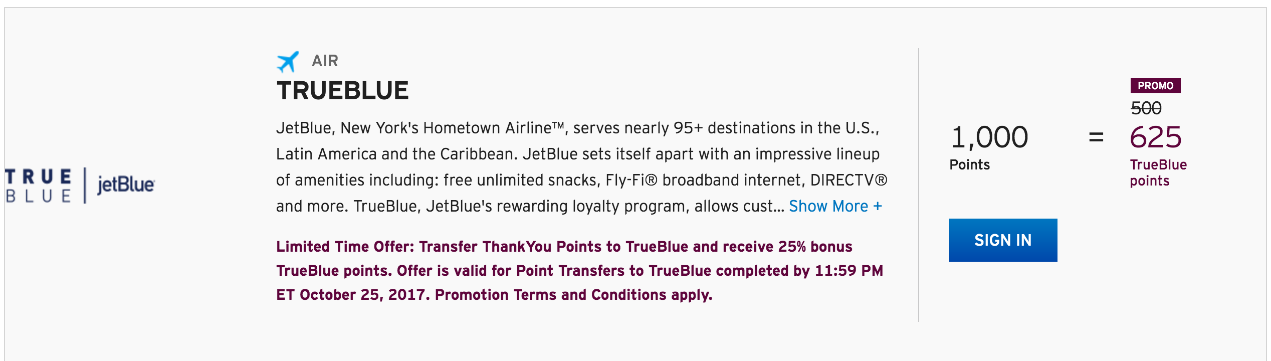 get a 25 bonus when you transfer citi points to jetblue