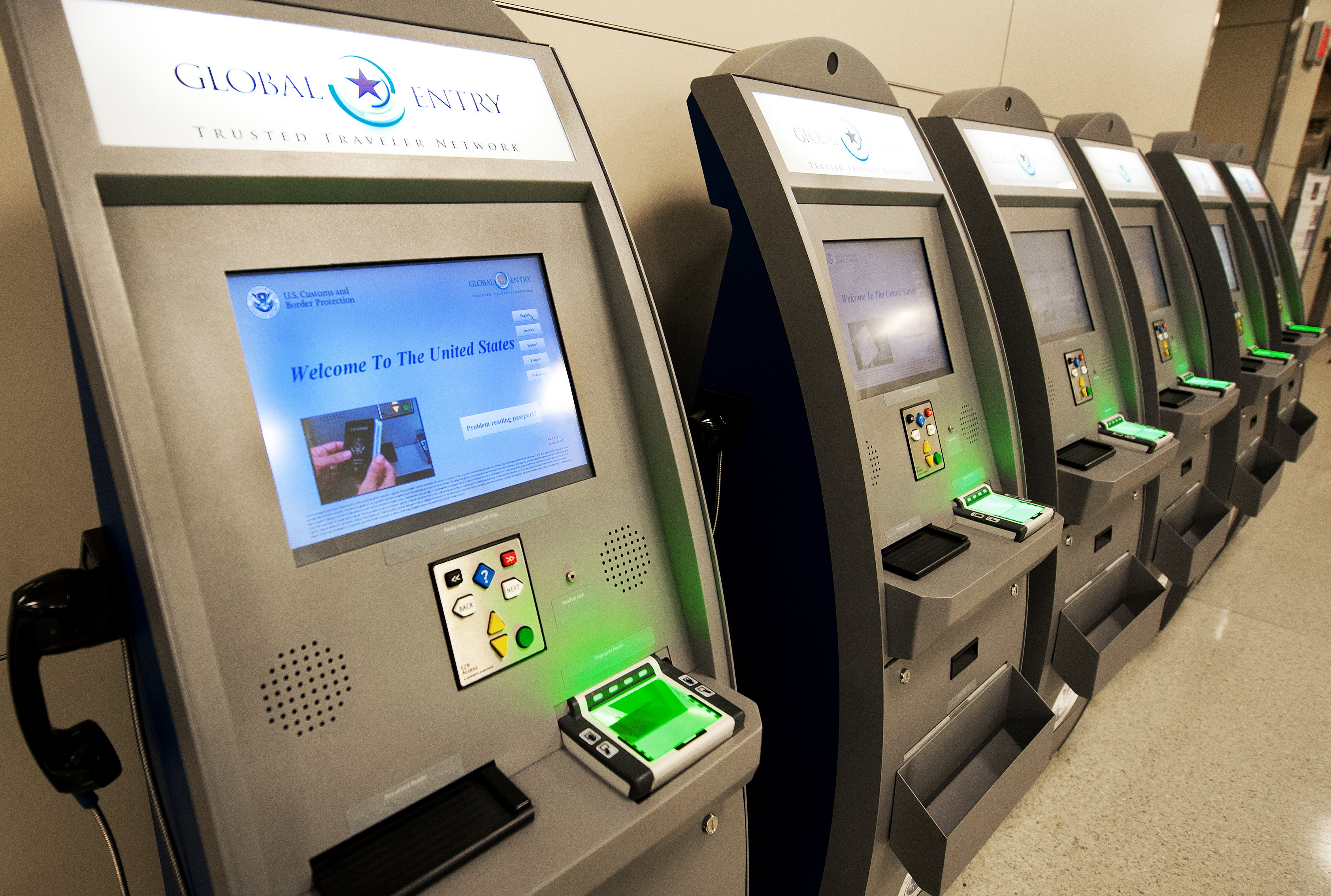 the new us customs and border protetion global entry trusted traveler network kiosks are seen at