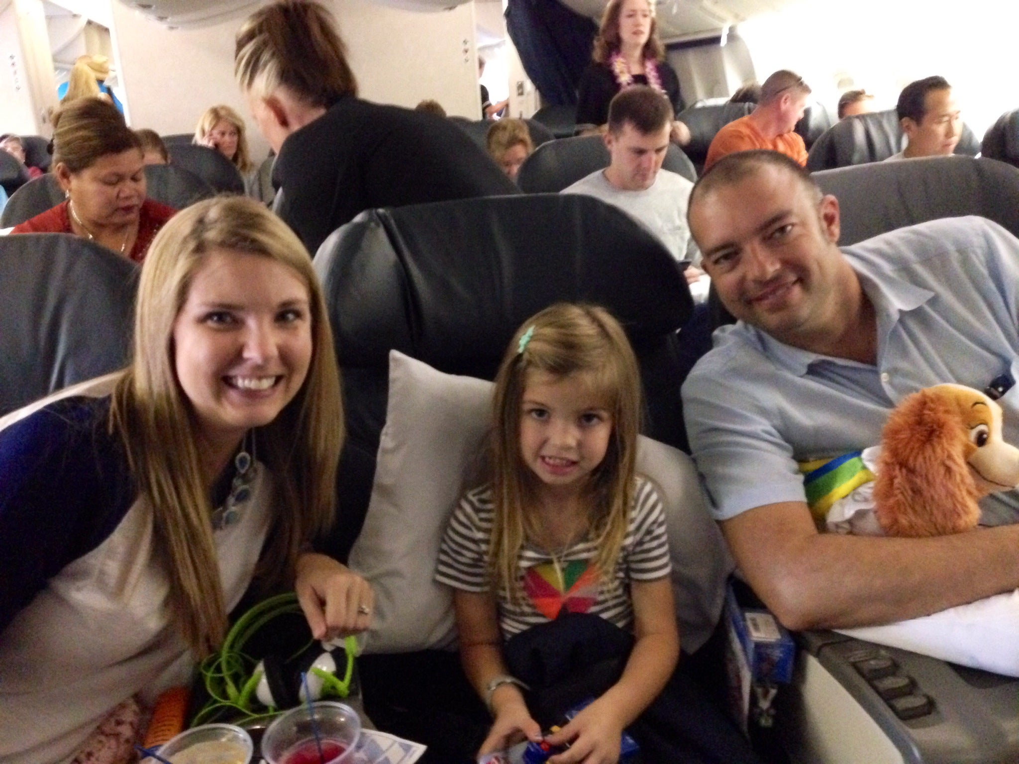 All together in business class on the way to Hawaii