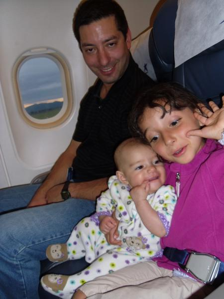 Jason Ilana and Evie on the plane in Argentina