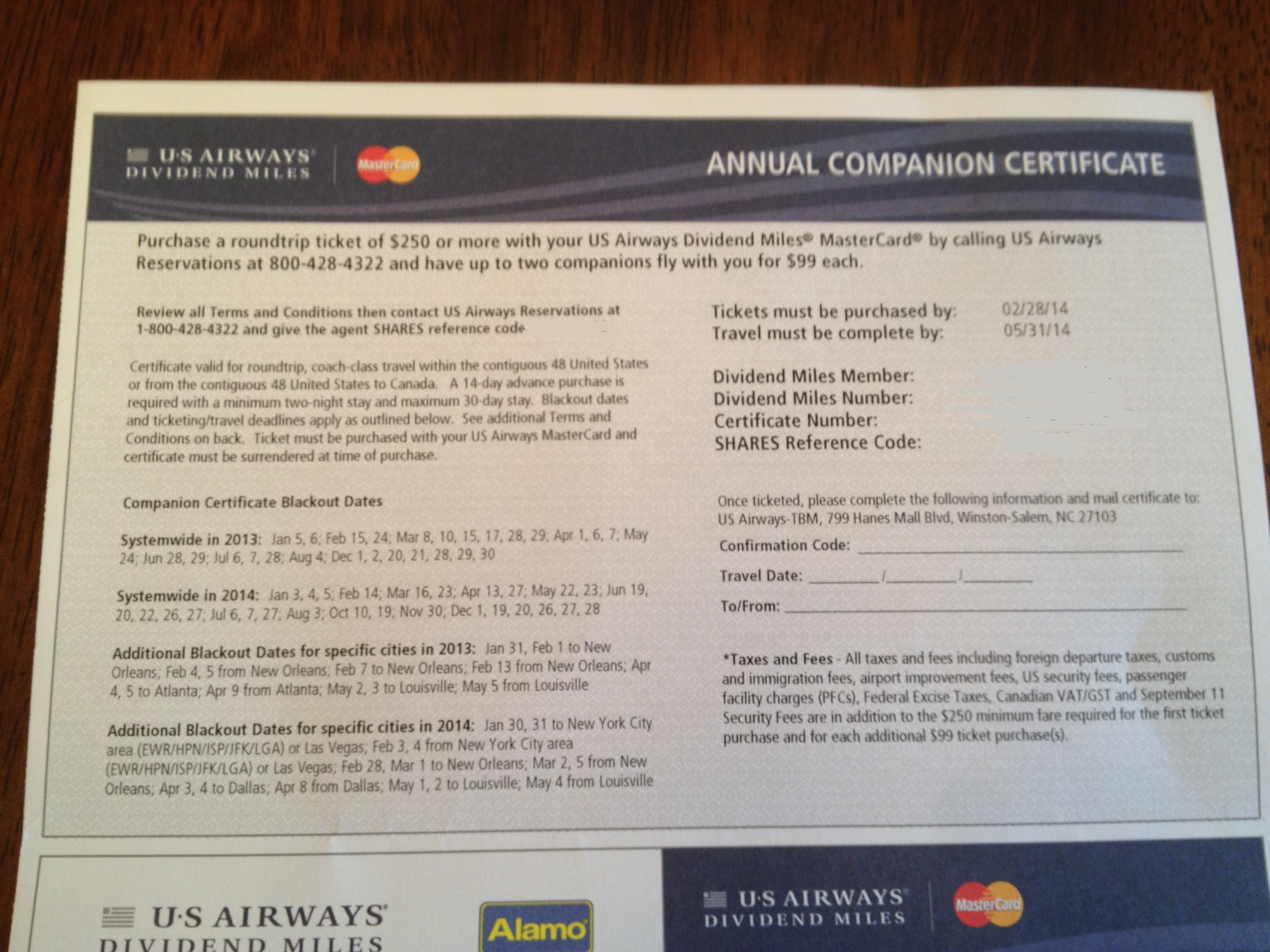 Successfully Used Us Airways 99 Companion Certificate The Points Guy
