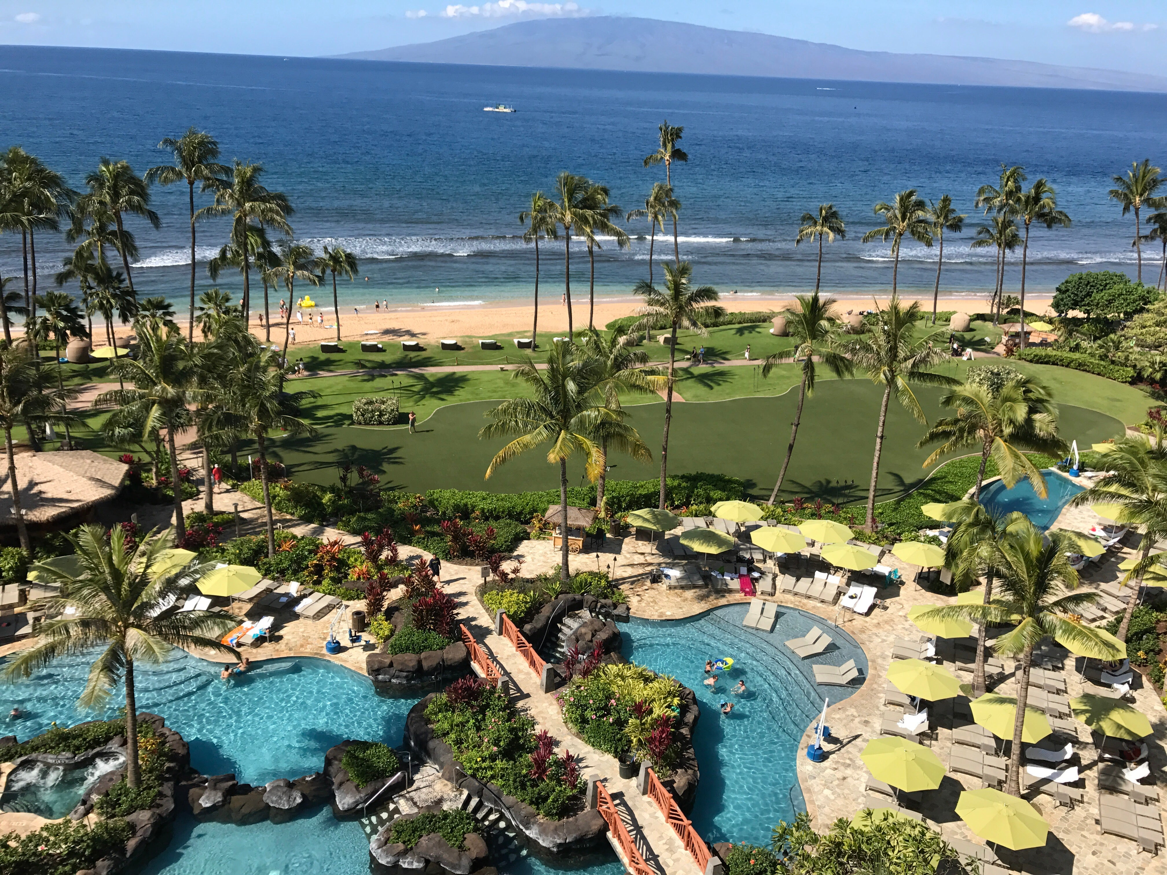 View of the Hyatt Maui Residence Club pool complex from the patio