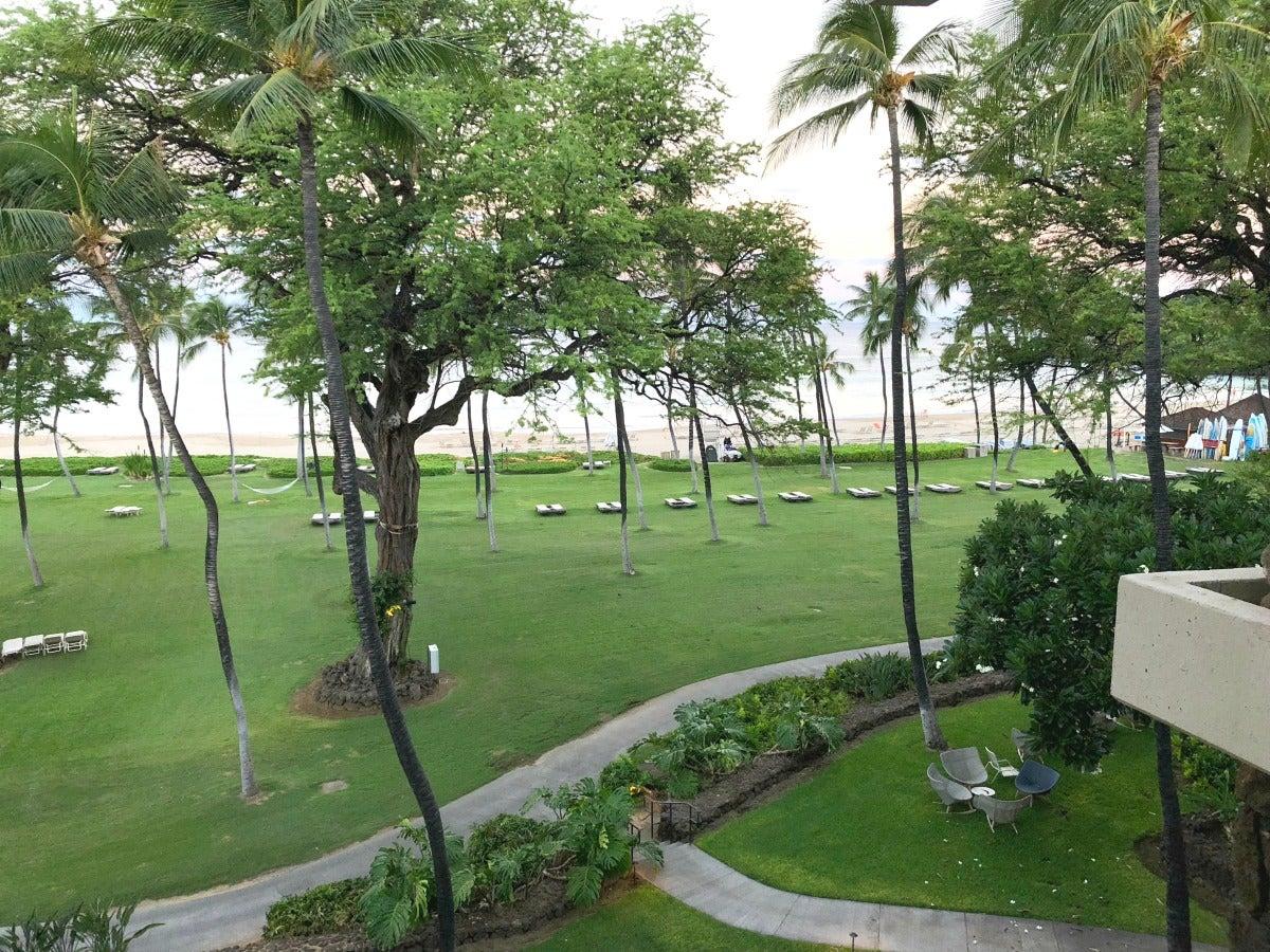 Mauna Kea Beach Hotel Review - Beach Lawn View from Lanai