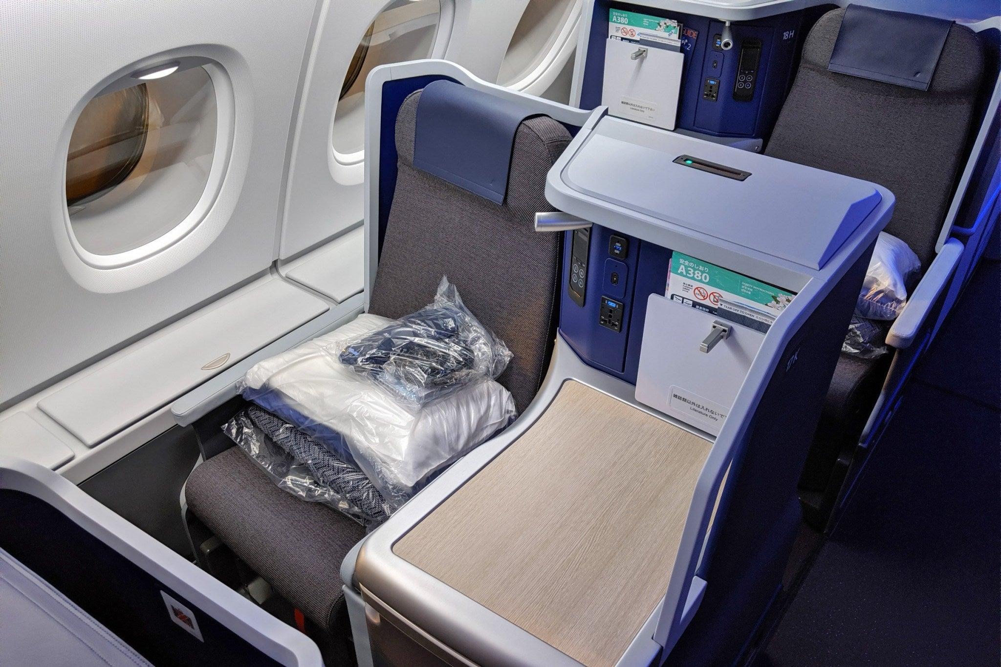 ANA's A380 business class seat. Photo Courtesy TPG's Zach Honig.